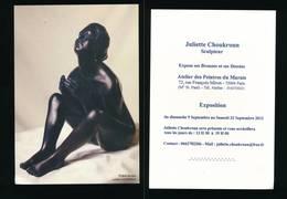 Carton D'invitation Exposition Sculptures Dessins  JULIETTE CHOUKROUN 2012 ( Prière ) - Dibujos