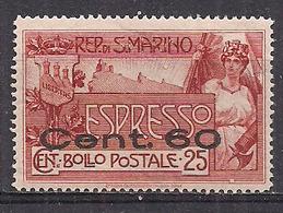 SAN MARINO 1923  ESPRESSI FRANCOBOLLO SOPRASTAMPATO SASS. 3 MLH VF - Francobolli Per Espresso