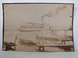 Photo. Evian.Embarcadère. Bateau à Vapeur. Lac Leman. 9x6.5cm - Photos