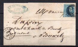 Nr 11 Met Ruime Buur Op Brief Van Gand (P 45) Naar Peruwelz - 22 Fev 1861 - 1858-1862 Medaillons (9/12)
