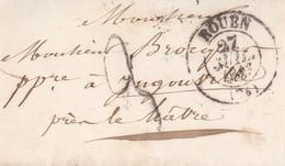 ROUEN A INGOUVILLE, ANNEE 1843. ENVELOPPE PRECURSEUR FRANCE CIRCULEE. -LILHU - 1801-1848: Vorläufer XIX