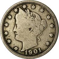 Monnaie, États-Unis, Liberty Nickel, 5 Cents, 1901, U.S. Mint, Philadelphie - EDICIONES FEDERALES