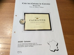 Etiquette De Vin 2000 «CÔTES-DU-RHÔNE VILLAGES - CAIRANNE -BOUTON D'OR- CAVES DES VIGNERONS - Cairanne (84)» - Côtes Du Rhône