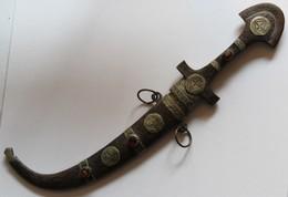 Ancien Art Africain Marocain Couteau Sabre Berbère Touareg Koummya Ou Koumaia Lame Courbe - Art Africain