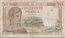 FRANCE  P. 81 50 F 1935 B/TB - 1871-1952 Circulated During XXth