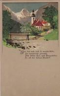 AK Dorf Mit Kirche Im Gebirge - Gedicht - Künstlerkarte - Ca. 1910 (48893) - Illustrators & Photographers