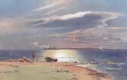 AK Landschaft Am Meer - Dampfer Segelboote Strand - Geringswalde 1908  (48894) - Illustrators & Photographers