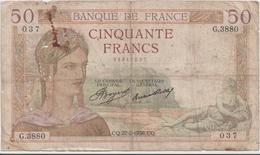 FRANCE  P. 81 50 F 1936 B/TB - 1871-1952 Circulated During XXth