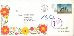 UAE Dubai Underpaid Cover With Postal Due T Sent Air Mail To Denmark 16-7-1973 Single Franked - Umm Al-Qiwain
