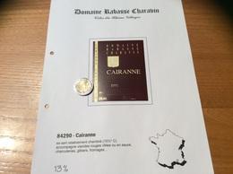 Etiquette Vin 1991 «CÔTES-DU-RHÔNE VILLAGES - CAIRANNE - DOMAINE RABASSE CHARAVIN - CORINNE COUTURIER - Cairanne (84)» - Côtes Du Rhône
