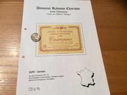 Etiquette Vin 1988 «CÔTES-DU-RHÔNE VILLAGES - CAIRANNE - DOMAINE RABASSE CHARAVIN - C COUTURIER -CUVÉE D'ESTEVENAS (84)» - Côtes Du Rhône