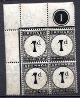 GRENADE - (Colonie Britannique) - 1892 - TAXE - Bloc De 4 Du N° 1 - 1 P. Noir - (Légende : SURCHARGE POSTAGE) - Central America