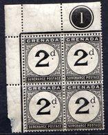 GRENADE - (Colonie Britannique) - 1892 - TAXE - Bloc De 4 Du N° 2 - 2 P. Noir - (Légende : SURCHARGE POSTAGE) - Central America