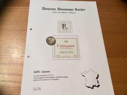 Etiquette Vin + Collerette 1998 «CÔTES-DU-RHÔNE VILLAGES - CAIRANNE - Dominique ROCHER - Cairanne (84)» - Côtes Du Rhône