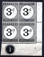 GRENADE - (Colonie Britannique) - 1892 - TAXE - Bloc De 4 Du N° 3 - 3 P. Noir - (Légende : SURCHARGE POSTAGE) - Central America