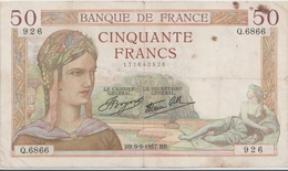 FRANCE  P. 81 50 F 1937 B/TB - 1871-1952 Circulated During XXth