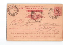 AG1242 02  CARTOLINA VAGLIA DA LIRE DIECI - CIVITAVECCHIA X FIRENZE - Entiers Postaux