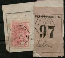FEF-197  LAEKEN CENTRAL  Telegraafstempel   Op Fragment Met Spoorwegstempel LAEKEN      Naar   EELEN - Railway