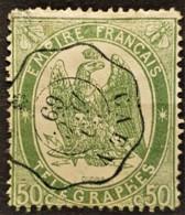 FRANCE 1868 - Canceled - YT 6 - 50c - Télégraphe - Telegraphie Und Telefon