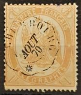 FRANCE 1868 - Canceled - YT 7 - 1F - Télégraphe - Telegraaf-en Telefoonzegels