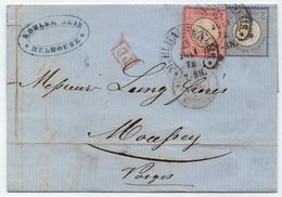 MULHAUSEN - MULHOUSE - ALSACE / 1872 OBLITERATION FER A CHEVAL SUR PLI POUR MOUSSEY (ref 7666i) - Alsace-Lorraine