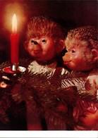 Ansichtskarte  Mecki (Diehl-Film): Weihnachtsbaum Kerze Bestaunen 1975 - Mecki
