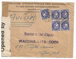 CERES 2FR50 BLOC DE 4+1 LETTRE AVION MARSEILLE GARE DEPART 8.3.1941  POUR USA  + CENSURE AU TARIF - France