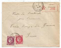 CERES 3FR+2FR LETTRE REC EVIAN LES BAINS 8.11.1940 POUR GENEVE  AU TARIF - France