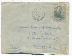 CEZANNE 2F25 SEUL LETTRE SARRALBE  MOSELLE 1939 POUR SUISSE + ETIQUETTE AU DOS - Postmark Collection (Covers)
