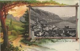 Ansichtskarte Montreux (Muchtern) Stadt - Waldweg 1907 Passepartout - VD Waadt