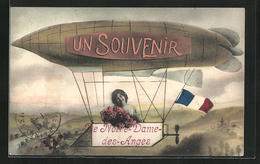 CPA Anges, Frau Avec Des Fleurs Im Dirigeable - France