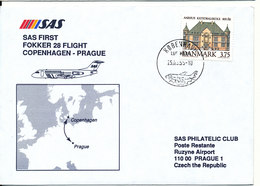 Denmark Cover SAS First Fokker 28 Flight Copenhagen - Prague 25-3-1995 - Dänemark