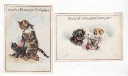 Chromo  CHOCOLAT FAVARGER FOULQUIER  à Genève   Lot De 2    Chiens Et Chats    10.1 X 7.2 Cm - Chocolat