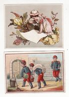 Chromo  CHOCOLAT FAVARGER FOULQUIER  à Genève   Lot De 2    Femme Et Fleurs, Soldats    10.5 X 7.2 Cm - Chocolate