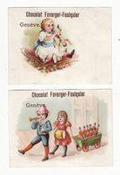Chromo  CHOCOLAT FAVARGER FOULQUIER  à Genève   Lot De 2    Enfants Et Jouets    10.1 X 7.1 Cm - Chocolat