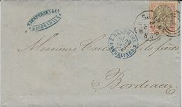 1876- Lettre De Copenhague  Pour Bordeaux Entrée :   DANEMARK 2 ERQUELINES 2  Bleue - Postmark Collection (Covers)