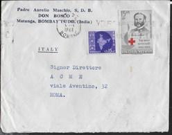 INDIA - STORIA POSTALE - BUSTA DA BOMBAY 1963 PER ITALIA - CROCE ROSSA - Covers & Documents