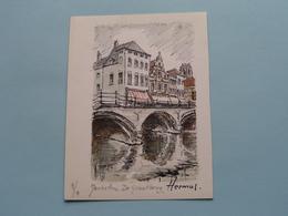 HERMUS Tekening MECHELEN De Grootbrug ( 1/1 ) Anno 19?? ( Zie/voir Photo ) Formaat 8 X 10,5 Cm.! - Prints & Engravings