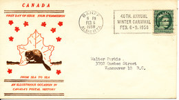 Canada Cover Sent To Vancouver Banff 6-2-1958 (40th. Annual Winter Carnival Feb. 6-9-1958) - 1952-.... Règne D'Elizabeth II