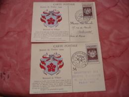 Lot De 2 C M Carte Maximum 1944 Renouard De Villayer - Maximumkaarten