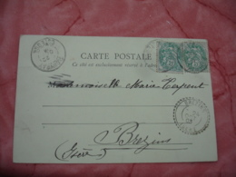 1903 Brezins Cachet Perle Facteur Boitier Obliteration Sur Lettre - Marcofilie (Brieven)