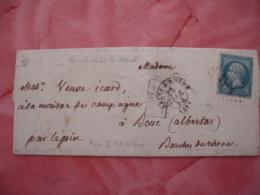 CAchet Type 22 Le Pin Obliteration Arrivee Sur Lettre De Arles Du Rhone Apres Le Depart  1864 - Postmark Collection (Covers)
