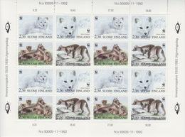 Finlande, Feuille Complète Des N° 1166 à 1169 En Blocs De Quatre (renard Arctique, été Et Hiver), Neuf ** - Ganze Bögen
