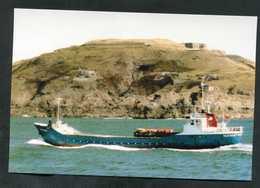 """Carte-photo - Cargo - Service Des Iles Anglo-Normandes """"M.V. Seatrent Au Large D'Aurigny (Alderney) Années 90"""" - Commercio"""