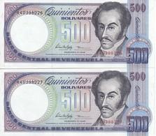 PAREJA CORRELATIVA DE VENEZUELA DE 500 BOLIVARES DEL AÑO 1998 SIN CIRCULAR  (BANKNOTE) UNCIRCULATED - Venezuela