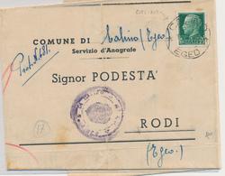 1943   EGEO CALINO EGEO X RODI 0,25 LETTERA TRA SINDACI CON TESTO : RARA - Egeo