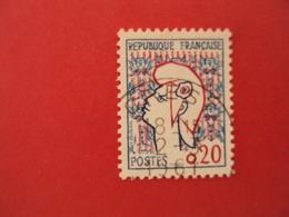 """1960  Oblitéré   N° 1282 II   """" Marianne De Cocteau 0.20""""    Net   0.30   Photo   1    """"   Crest  """" - 1961 Marianne De Cocteau"""