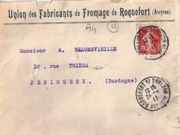 12 . AVEYRON . ROQUEFORT S/SOULZON . TAD DE TYPE A4 . 1911/14  +  ENTETE - Marcophilie (Lettres)