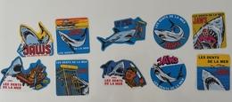 Rare Collection Lot D'autocollants Vintage LES DENTS DE LA MER Années 80 JAWS Stickers Requin - Publicité Cinématographique
