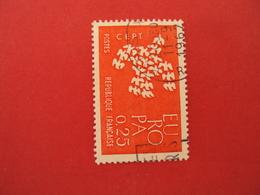 """1960  Oblitéré   N° 1309  """"  EUROPA 0.25 Rouge  """"    Net   0.30     """"paris"""""""" - 1961 Marianne De Cocteau"""
